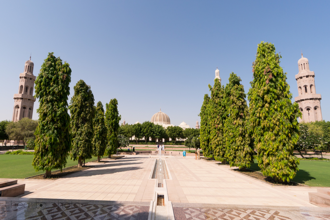 The entrance of the Sultan Qaboos Grand Mosque in Muscat